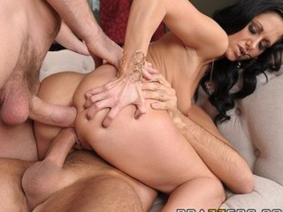 Horny wife Ava Addams fucks two big-dicks in front of her husband