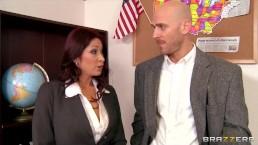 Horny redhead principle Tiffany Mynx fucks the new school teacher