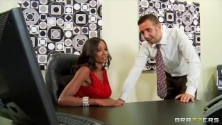 Preview 1 of Hot & horny ebony executive Diamond Jackson rides big-dick