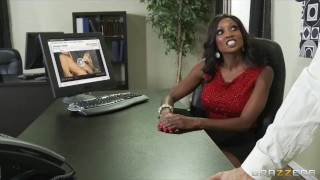Preview 2 of Hot & horny ebony executive Diamond Jackson rides big-dick
