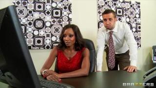 Preview 3 of Hot & horny ebony executive Diamond Jackson rides big-dick