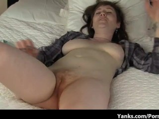 Cute brunette with nice tits has an Extreme Orgasm