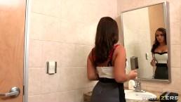 Sexy big-tit French secretary is caught masturbating at work