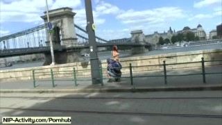 Preview 1 of Hot redhead tereza naked on public streets