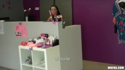 Cute skinny Czech brunette cashier is paid for intense sex at work