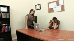 Dominant brunette lesbian punishes her brother's blond girlfriend
