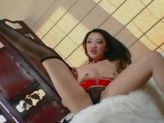 Petite asian teases and masturbates in a garter belt and fishnets - Title on the code