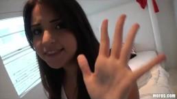 Slutty brunette Latina Cara Swank wants to fuck her BF on camera
