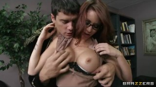 Preview 3 of Sexy redhead librarian Monique Alexander daydreams about sex