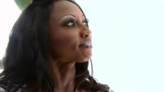 Big-boobed ebony MILF Diamond Jackson fucks her daughters's BF