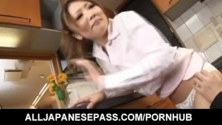 Japanese housewife gets fucked in her kitchen  japanese milf alljapanesepass mother dp asian oriental mom