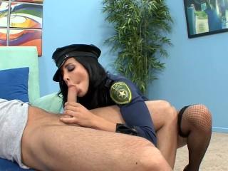 Busty brunette in a cops uniform heels and fishnet stockings fuck