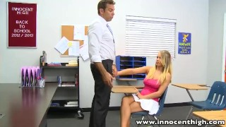 Preview 3 of InnocentHigh Smalltits blonde teen Britney Young fucked teacher