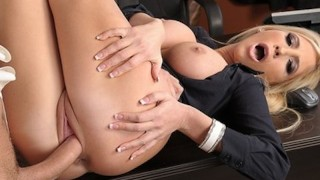 Sexy blonde saleswoman fucking her business investor