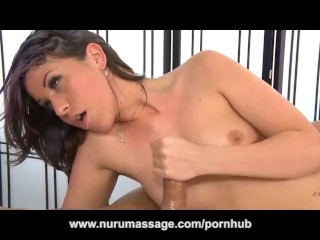 Gorgeous Brunette Amiee Cambridge Massage and Blowjob