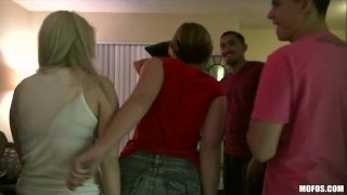 Three HOT & horny college girls invite some guys over for an orgy