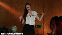 Sexy office secretary strips out of her pencil skirt to masturbat