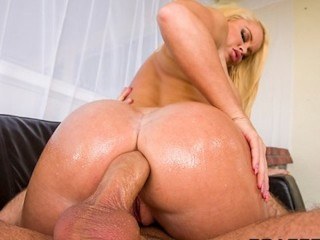 HOT blonde with a perfect ass is oiled up for rough anal