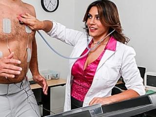 Sexy brunette doctor Raylene sucks her patient's big-cock