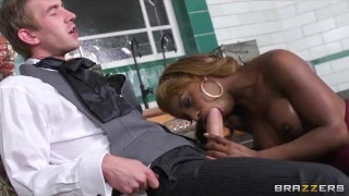 Danny D teaches stunning ebony babe Jasmine Webb to squirt