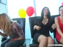 hot brunette gobbles down big cock