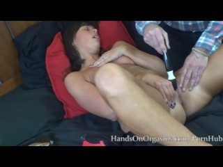 MILF with Snapping Pussy Orgasms gets Hands On Help to Surprise Squirt