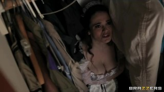 Horny French maid with perfect natural-tits has multiple orgasms