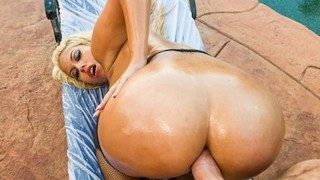 Bigbooty blonde slut oils up her ass for some hardcore anal