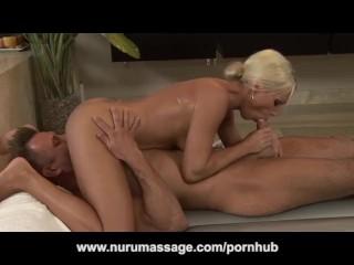 Blonde MILF Nuru Massage Turns into Blowjob 69