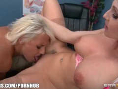 Two blonde med students sluts fuck their teacher in a threesome