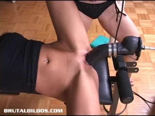 Hot blonde babe fucked a brutal dildo fucking machine at high