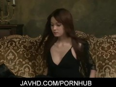 Lewd japanese doll Mei Haruka masturbates with a dildo