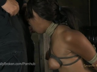 Hot Black Girl is Tied up and Made to Suck Cock and Fuck