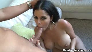 Latina Diamond Kitty takes a load of Cum over her sexy Face