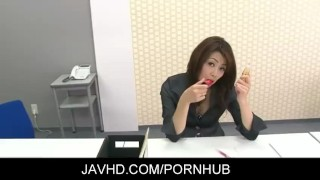 Sexy japanese gal Hojo Maki toying her pussy during an office meeting sex-toy japanese milf masturbate masturbating hairy-pussy