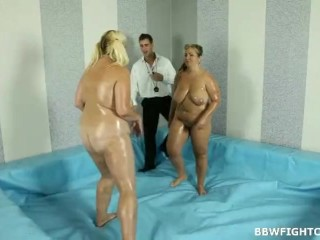 Nude oil wrestling match broke out between 2 fatties