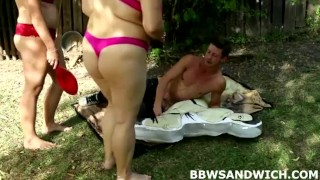 Outrageous BBW threesome orgy outdoors  domination hardcore threesome bbw femdom chubby fat