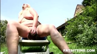 shoking facesitting performed by fat blonde domination femdom handjob bbw chubby fat facesitting