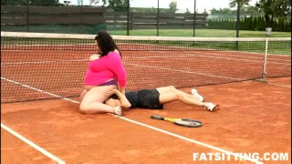 Extra large brunette dominates and facesits her tennis teacher domination femdom handjob bbw chubby fat facesitting