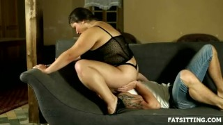 Big and beautiful Leny facesits her obedient slave  domination handjob bbw facesitting femdom chubby fat