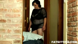 Fullweight BBW facesitting with bitchy Sandra domination femdom handjob bbw chubby fat facesitting