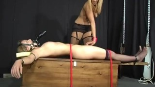 Interracial Bound - Scene 3  nipple clamps spanking girlongirl leash femdom asian vibrator dildo muzzle collar rope stockings pornhub.com ridding