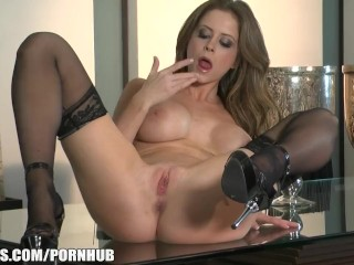 Big-boobed brunette pornstar Emily Addison cums on her toy