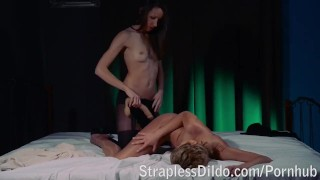 Strapon fucked to tears  high heels strapon dildo lesbians russian cunnilingus small tits extreme pantyhose rough pussy licking adult toys girl on girl sex toy