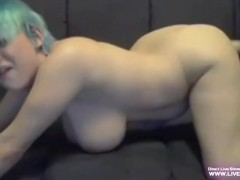 Blue hair busty babe Diana loves her fuck-machine
