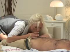 MOM HD Blonde busty MILF has multiple orgasms