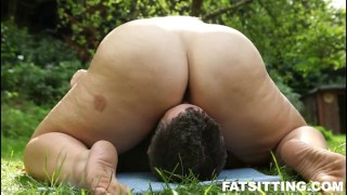 Fat Mira with thick pussy loves facesitting outdoor femdom bbw fat facesitting smothering
