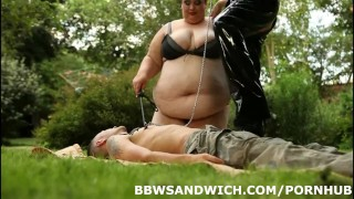 Marta and Jitka fuck their personal slave gardener outdoor femdom bbw chubby fat facesitting