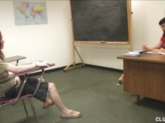 A hot teacher gives her student a great handjob in the classroom