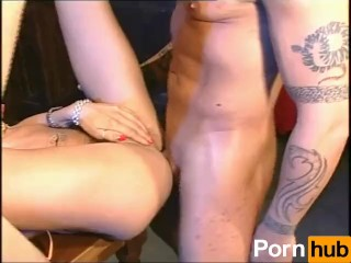 Blonde Shemale Is Fucked by Biker Guy